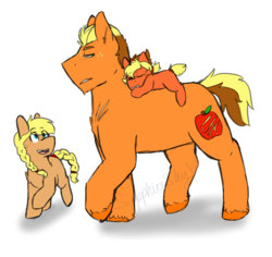 Size: 1800x1700 | Tagged: safe, artist:sapphireshy, oc, oc only, oc:cinnamon apple, oc:gala, oc:tumble, earth pony, pony, braid, brother and sister, female, filly, male, offspring, parent:applejack, parent:caramel, parents:carajack, ponies riding ponies, signature, simple background, stallion, white background