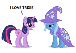 Size: 632x447 | Tagged: artist:mixermike622, blushing, blush sticker, cape, clothes, female, hat, lesbian, lidded eyes, mare, pony, safe, shipping, simple background, smiling, trixie, trixie's cape, trixie's hat, twilight sparkle, twixie, unicorn, white background