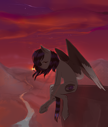 Size: 1700x2000 | Tagged: artist:linadl, oc, oc only, pegasus, pony, sad, safe, solo, sunset, underhoof