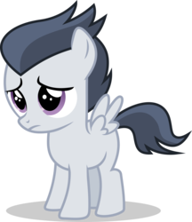 Size: 1615x1872 | Tagged: artist:frownfactory, colt, male, marks and recreation, pegasus, rumble, sad, safe, simple background, solo, spoiler:s07e21, svg, .svg available, transparent background, vector, wings