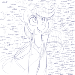 Size: 871x871 | Tagged: artist:dimfann, derpy hooves, excited, monochrome, pegasus, pony, safe, sketch, smiling, solo, wow