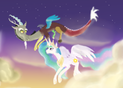 Size: 2553x1841 | Tagged: artist:mr100dragon100, cloud, discord, dislestia, female, flying, looking at each other, male, princess celestia, safe, shipping, straight, sunset