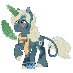 Size: 800x800 | Tagged: safe, artist:tambelon, oc, oc only, oc:polymath, classical unicorn, pony, unicorn, clothes, cloven hooves, female, glasses, leonine tail, magic, male, quill, scarf, solo, stallion, unshorn fetlocks