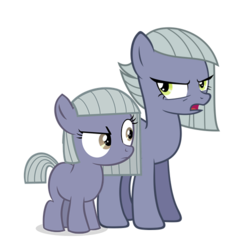 Size: 500x500 | Tagged: safe, limestone pie, earth pony, pony, duality, female, filly, filly limestone pie, lil' limey, mare, simple background, time paradox, transparent background