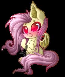 Size: 2919x3425 | Tagged: safe, artist:siena1923, fluttershy, bat pony, pony, bats!, blushing, cute, cute little fangs, fangs, female, flutterbat, mare, race swap, shyabates, shyabetes, solo