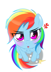 Size: 450x643 | Tagged: artist:tsudashie, behaving like a cat, blushing, chest fluff, cute, dashabetes, looking at you, looking up, rainbow dash, safe, simple background, solo, white background
