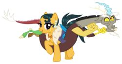 Size: 7174x3745 | Tagged: artist:cheezedoodle96, artist:yanoda, cleopatra jazz, coils, discord, discorpatra, editor:jdueler11, female, interspecies, male, safe, shipping, simple background, straight, transparent background, vector
