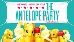 Size: 1366x768 | Tagged: safe, applejack, earth pony, pony, cap, female, hat, irl, jackletree, make america great again, make x great again, multeity, murica, photo, the antelope party, theater, theater wit, toy, why