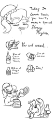 Size: 474x1059 | Tagged: alcohol, artist:jargon scott, bags under eyes, black and white, bust, comic, dialogue, drink, drinking, earth pony, female, food, grayscale, hoof hold, ice cube, lime, liquor, mare, margarita, monochrome, oc, oc:brownie bun, oc only, peanut butter, pony, recipe, safe, simple background, tequila, vodka, white background