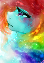 Size: 2149x3035 | Tagged: artist:monochromacat, female, lidded eyes, mare, pony, rainbow dash, safe, solo