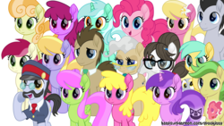 Size: 1920x1080 | Tagged: safe, artist:spookitty, all aboard, amethyst star, berry punch, berryshine, cherry berry, cloud kicker, derpy hooves, doctor whooves, junebug, lily, lily valley, lucky clover, lyra heartstrings, mayor mare, merry may, pinkie pie, raven, roseluck, sparkler, sunshower raindrops, time turner, writing desk, earth pony, pegasus, pony, unicorn, background pony, female, group, male, mare, movie accurate, pony tale adventures, stallion