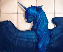 Size: 983x813 | Tagged: safe, artist:lusille, princess luna, alicorn, pony, fanfic:moon rise, bathroom, bathtub, beautiful, cute, eyes closed, fanfic, fanfic art, female, mare, smiling, solo, spread wings, wet mane, wings