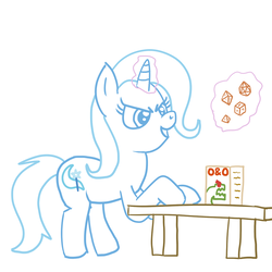 Size: 1024x1024 | Tagged: artist:solarfm, d20, d4, d6, d8, dice, dungeons and dragons, female, glowing horn, hooves on the table, magic, magic aura, mare, ogres and oubliettes, pony, safe, simple background, solo, table, tabletop game, telekinesis, trixie, unicorn, white background