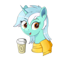 Size: 2048x2048 | Tagged: artist:negasun, beverage, bust, clothes, cup, female, lyra heartstrings, mare, pony, portrait, safe, scarf, simple background, smiling, soda can, solo, transparent background, unicorn