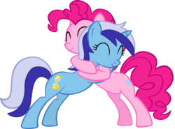 Size: 5459x4031 | Tagged: amending fences, artist:ironm17, eyes closed, hug, minuette, pinkie pie, safe, simple background, smiling, transparent background, vector