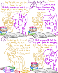 Size: 4779x6013 | Tagged: safe, artist:adorkabletwilightandfriends, moondancer, twilight sparkle, alicorn, pony, comic:adorkable twilight and friends, absurd resolution, adorkable twilight, advice, book, comic, duo, fanfic, library, lineart, slice of life, study, twilight sparkle (alicorn)