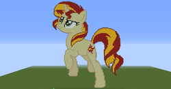 Size: 1920x1001 | Tagged: female, mare, minecraft, minecraft pixel art, pony, safe, solo, sunset shimmer, unicorn