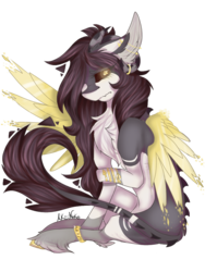 Size: 768x1024 | Tagged: artist:akiiineko, black sclera, chest fluff, colored wings, female, mare, oc, oc:evelyn, pegasus, pony, safe, simple background, solo, transparent background, unshorn fetlocks