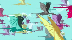 Size: 1282x720   Tagged: safe, screencap, carnelian, karst, dragon, dragon quest, background dragon, dragon migration, flying, hub logo, migration, unnamed character, unnamed dragon