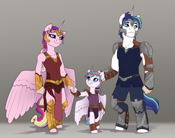 Size: 1024x808   Tagged: safe, artist:joan-grace, princess cadance, princess flurry heart, shining armor, anthro, unguligrade anthro, alternate universe, armor, bipedal, clothes, family, flurry heart pearl of battle, older, rebellion, story in the source, story included