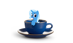 Size: 3600x2151 | Tagged: safe, artist:the smiling pony, edit, editor:moonatik, trixie, pony, cup, cup of pony, high res, micro, simple background, solo, teacup, that pony sure does love teacups, vector