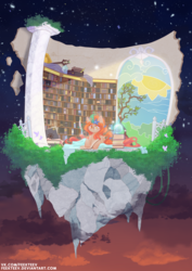 Size: 2480x3508 | Tagged: artist:feekteev, blanket, book, bookhorse, bookshelf, bush, butterfly, chaos star, cloud, column, concentrating, concentration, detailed, dracony, dragon eyes, dusk, female, floating island, glasses, glowing horn, horn, hybrid, island, laying down, library, magic, magic ball, magic staff, mare, night, night sky, oc, oc:alscenia greymane, oc only, orange mane, poison joke, pony, quill, quill pen, reading, safe, sky, slit eyes, smiling, solo, stained glass, stars, telekinesis, unicorn magic, vines, writing