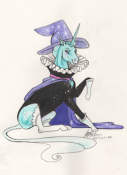Size: 1892x2614 | Tagged: safe, artist:sagastuff94, trixie, classical unicorn, pony, unicorn, boots, cape, clothes, collar, dress, elegant, elizabethan, fancy, female, hat, hoers, leonine tail, majestic, mare, realistic, ruff (clothing), shoes, simple background, sitting, smiling, solo, traditional art, trixie's cape, trixie's hat, unshorn fetlocks