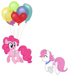 Size: 2770x3000 | Tagged: artist:petraea, balloon, earth pony, female, floating, high res, mare, oc, oc:sundance, pinkie pie, pony, safe, simple background, then watch her balloons lift her up to the sky, transparent background, vector