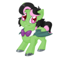 Size: 1024x768 | Tagged: safe, artist:usagi-zakura, oc, oc only, oc:gojiberry, bat pony, bowtie, disguise, disguised changeling, simple background, solo, transparent background