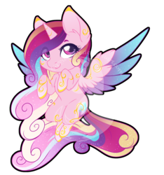 Size: 810x867 | Tagged: safe, artist:fuyusfox, princess cadance, alicorn, pony, chibi, colored wings, ethereal mane, female, gradient wings, heart eyes, multicolored hair, rainbow power, rainbow power-ified, simple background, smiling, solo, spread wings, starry mane, transparent background, watermark, wingding eyes, wings