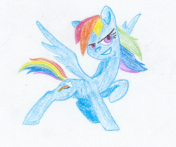 Size: 762x637 | Tagged: safe, artist:t72b, derpibooru exclusive, rainbow dash, grin, pose, raised hoof, smiling, solo, traditional art