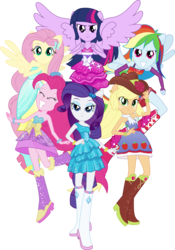 Size: 3856x5500 | Tagged: alicorn, applejack, artist:theshadowstone, bare shoulders, clothes, dress, equestria girls, equestria girls (movie), fall formal outfits, fluttershy, humane five, humane six, pinkie pie, ponied up, rainbow dash, rarity, safe, simple background, sleeveless, strapless, transparent background, twilight sparkle, twilight sparkle (alicorn), vector