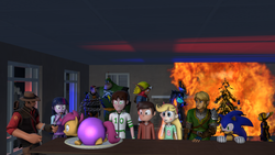 Size: 1280x720 | Tagged: safe, artist:khxhero, scootaloo, twilight sparkle, equestria girls, 3d, ben 10, ben 10 omniverse, ben tennyson, christmas, crossover, gordon freeman, half-life, holiday, link, marco diaz, quark, ratchet and clank, sniper, sonic the hedgehog, sonic the hedgehog (series), source filmmaker, star butterfly, star vs the forces of evil, team fortress 2, the legend of zelda