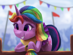 Size: 4000x3000 | Tagged: safe, artist:vanillaghosties, twilight sparkle, pony, rainbow falls, alternate hairstyle, cheerleader, cheerleader sparkle, cute, female, grin, mare, pom pom, skirt, smiling, solo, twiabetes