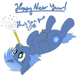 Size: 3572x3492 | Tagged: safe, artist:djdavid98, oc, oc only, oc:paamayim nekudotayim, pony, 2018, confetti, english, happy new year 2018, hat, high res, new year, on back, party hat, party horn, simple background, solo, text, transparent background