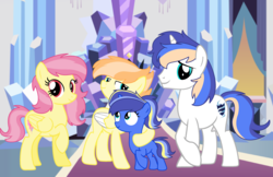 Size: 3152x2048 | Tagged: safe, artist:thesmall-artist, oc, oc only, oc:blue star, oc:harmony, oc:power shield, oc:shining amulet, pegasus, pony, unicorn, female, filly, high res, male, mare, stallion