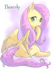 Size: 1536x2173 | Tagged: safe, artist:yanamosuda, fluttershy, pegasus, pony, blushing, female, flutterbutt, head turn, hoof on chin, looking at you, looking back, looking back at you, mare, plot, sitting, solo, spread wings, wings