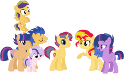 Size: 1251x756 | Tagged: artist:emabases, bisexual, family, female, flashimmer, flashlightshimmer, flash sentry, lesbian, male, offspring, parent:flash sentry, parents:flashimmer, parents:flashlight, parent:sunset shimmer, parent:twilight sparkle, polyamory, safe, shipping, straight, sunset shimmer, sunsetsparkle, twilight sparkle