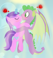 Size: 768x850 | Tagged: safe, artist:razorbladetheunicron, amethyst star, sparkler, spike, dragon, unicorn, lateverse, amespike, anxious, base used, blushing, dragon wings, eyes closed, flying, glowing horn, heart, kissing, love, older, older spike, romance, shipping, sky background, sunlight, winged spike