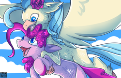 Size: 5100x3300 | Tagged: safe, artist:polyhexian, pinkie pie, princess skystar, classical hippogriff, earth pony, hippogriff, pony, my little pony: the movie, cloud, cute, diapinkes, female, flying, lesbian, open mouth, shipping, sky, sky background, skyabetes, skypie