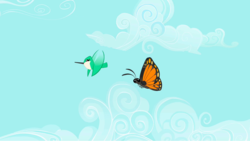 Size: 1279x721 | Tagged: safe, screencap, bird, butterfly, hummingbird, insect, may the best pet win, animal, flying, monarch butterfly, sky