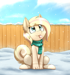 Size: 2422x2587 | Tagged: artist:otakuap, clothes, commission, hooves, looking up, oc, oc only, original species, paws, safe, scarf, sitting, snow, solo, tongue out, ych result