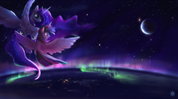 Size: 1962x1090 | Tagged: alicorn, artist:noctilucent-arts, aurora, aurora borealis, commission, crescent moon, female, flying, horn, lights, mare, moon, planet, plushie, pony, princess luna, safe, scenery, scenery porn, space, stars, twilight sparkle, twilight sparkle (alicorn), wings