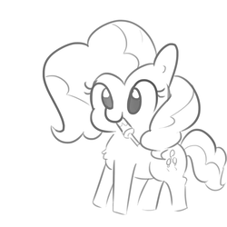 Size: 1650x1650 | Tagged: artist:tjpones, earth pony, female, mare, monochrome, pinkie pie, pony, safe, solo