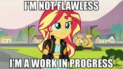 Size: 1280x720 | Tagged: safe, sunset shimmer, equestria girls, friendship games, discussion in the comments, flawless, image macro, meme, truth, we're not flawless