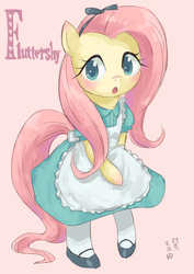 Size: 1000x1412 | Tagged: safe, artist:yanamosuda, fluttershy, pegasus, pony, alice in wonderland, bipedal, blushing, bow, clothes, crossover, cute, dress, female, looking at you, mare, shoes, shyabetes, simple background, socks, solo