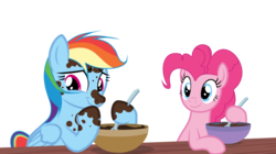 Size: 1024x575 | Tagged: artist:rachelclaraart, baking, base used, bowl, dirty, duo, pinkie pie, pony, rainbow dash, safe, simple background, spoon, transparent background