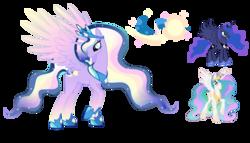 Size: 4363x2504 | Tagged: safe, artist:farg2003, princess celestia, princess luna, alicorn, bicorn, pony, crown, cutie mark, ethereal mane, fusion, fusion:aurora princess, jewelry, peytral, raised hoof, reference sheet, regalia, simple background, starry mane, transparent background