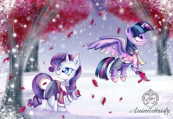 Size: 1024x704   Tagged: safe, artist:animechristy, part of a set, rarity, twilight sparkle, alicorn, pony, unicorn, clothes, coat, female, flower, looking back, mare, petals, rose, scarf, smiling, snow, snowfall, tree, twilight sparkle (alicorn), winter, winter outfit