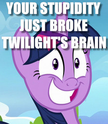 Size: 586x668 | Tagged: safe, edit, edited screencap, screencap, twilight sparkle, alicorn, top bolt, female, grin, image macro, insanity, meme, mind break, reaction image, smiling, solo, this will end in tears, twilight snapple, twilight sparkle (alicorn)